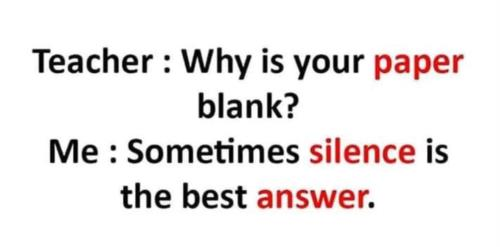 Silence is the best answer 😜