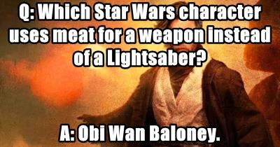 Q: Which Star Wars character uses meat for a weapon instead of a Lightsaber?