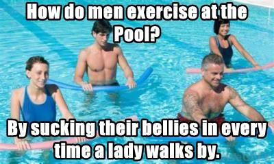 How do men exercise at the Pool?