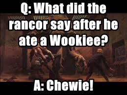 Q: What did the rancor say after he ate a Wookiee?