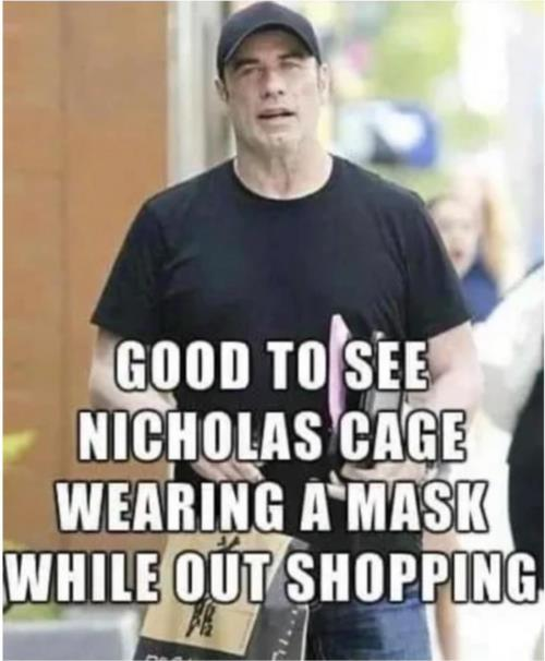 Nicholas Cage wearing a mask