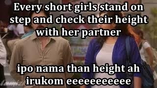 Every short girls stand on step and check their height with her partner