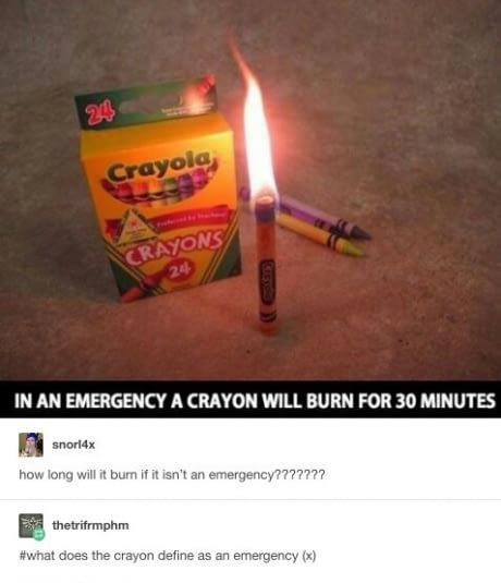 Crayons can double up as candles during an emergen