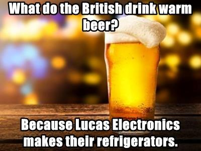 What do the British drink warm beer?