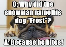 "Q: Why did the snowman name his dog ""Frost""?"