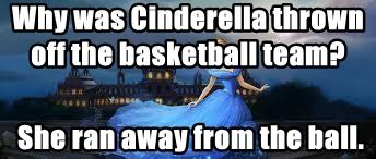 Why was Cinderella thrown off the basketball team?