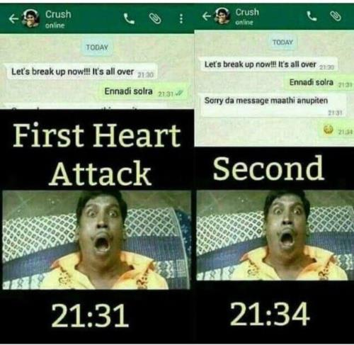 heart attack whatsapp meme